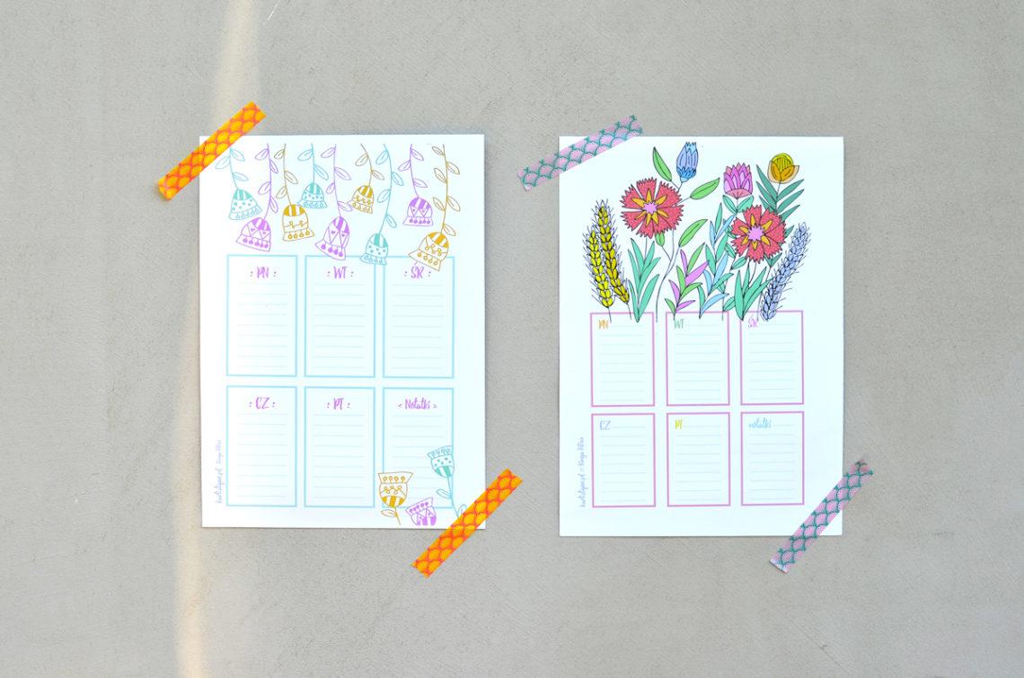 """Plany lekcji i listy """"to do"""" do druku! - 5 ślicznych wzorów do pobrania, za darmo"""