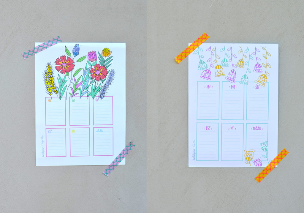 """Plany lekcji, listy """"to do"""" do pobrania, za darmo i wydrukowania. Oryginalne, kolorowe, dziewczęce."""