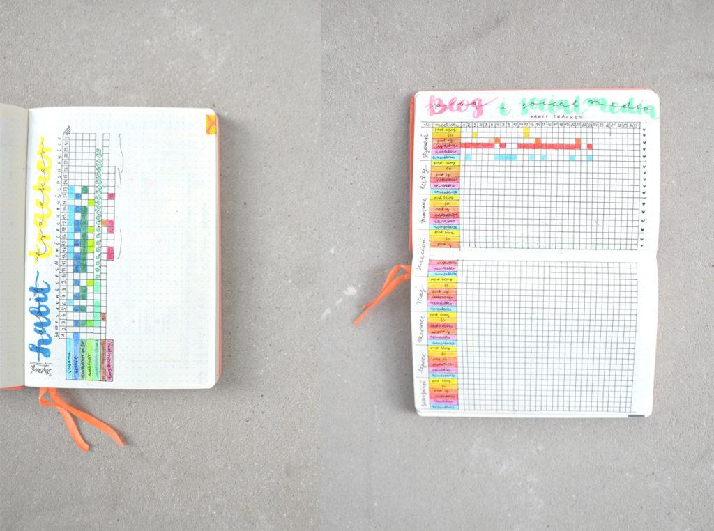 Habit trackery (śledziki nawyków) i kolekcje w Bullet Journal. Mój sposób na kontrolowanie dobrych nawyków oraz planowanie treści na blogu i w social mediach.