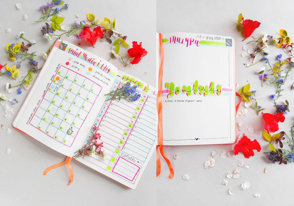 Śliczny Bullet Journal, inspiracje i pomysły na ozdobienie. Kolory, wzory i rysunki. Proste triki