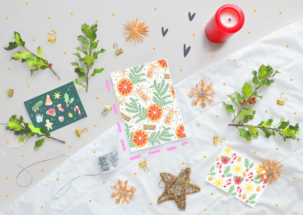 Kartki świąteczne na Boże Narodzenie do wydrukowania za darmo. Piękne, kolorowe motywy graficzne.