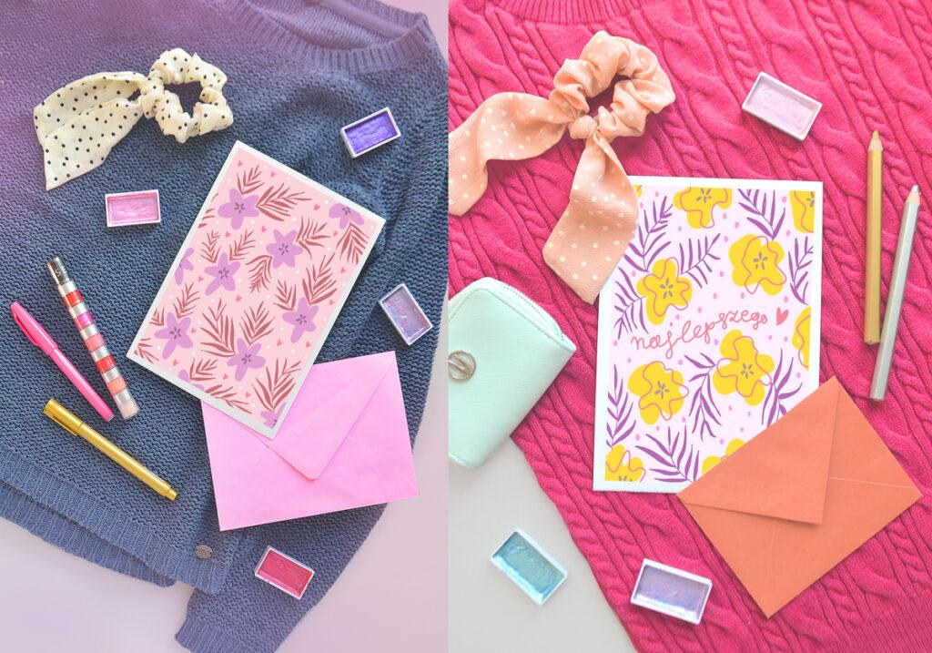 Kartki na dzień kobiet do pobrania i wydruku za darmo! Śliczne, graficzne, kolorowe wzory, Pomysł na prezent z okazji 8 marca.